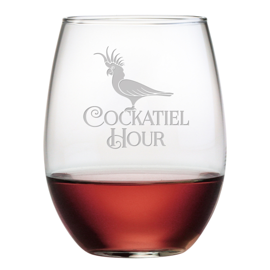 Cockatiel Hour Stemless Wine Glasses (set of 4)