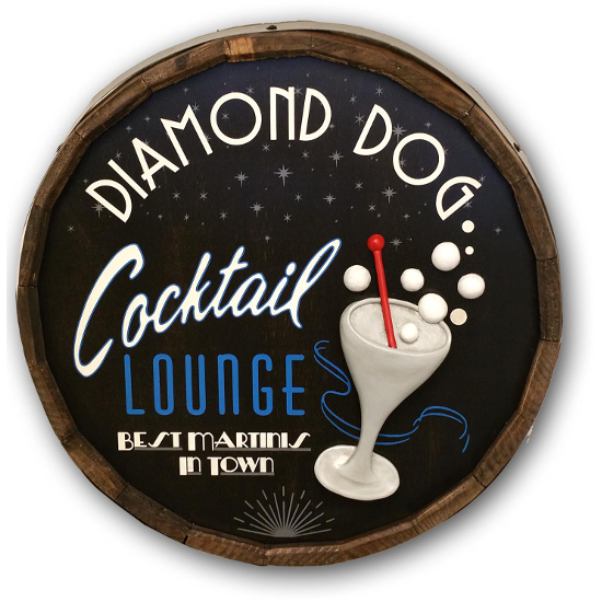 Cocktail Lounge Personalized Quarter Barrel Sign