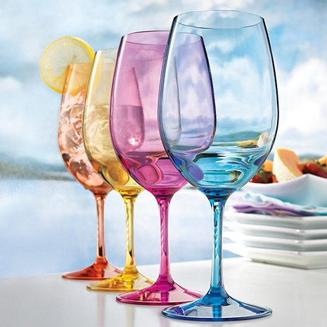 Assorted Colors Indoor Outdoor Wine Glasses (set of 4)