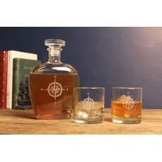 Compass Rose Decanter & OTR Glasses, Set of 3