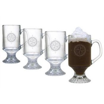 Compass Footed Coffee Mug Glasses (set of 4)