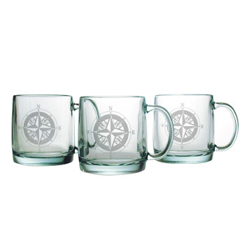 Compass Etched Coffee Mug Glasses (set of 4)