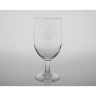 Compass Rose Footed Iced Tea Glasses (set of 4)