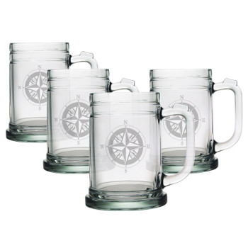 Compass Tankard Beer Mugs  (set of 4)
