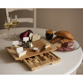 Concavo Bamboo Cutting Board with Cheese Tools and Markers