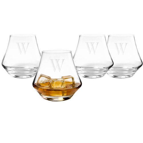 Contemporary Personalized Whiskey Glasses (set of 4)
