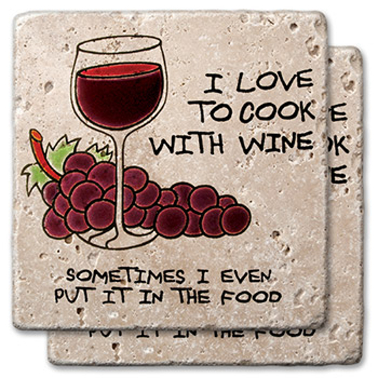 I Love To Cook With Wine Stone Coasters (set of 2)