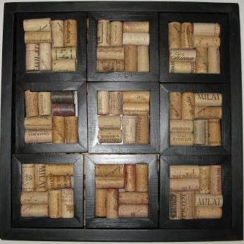 9 Cork Coasters and Serving Tray, black