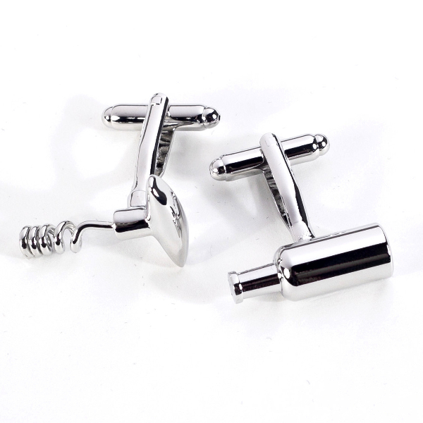 Rhodium Plated Wine Bottle Opener Cuff Links