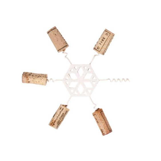 White Enamel Snowflake Wine Cork Trivet