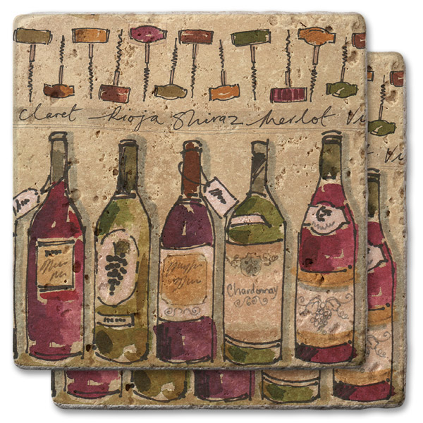 Corkscrews and Wine Bottles Stone Coasters (set of 2)