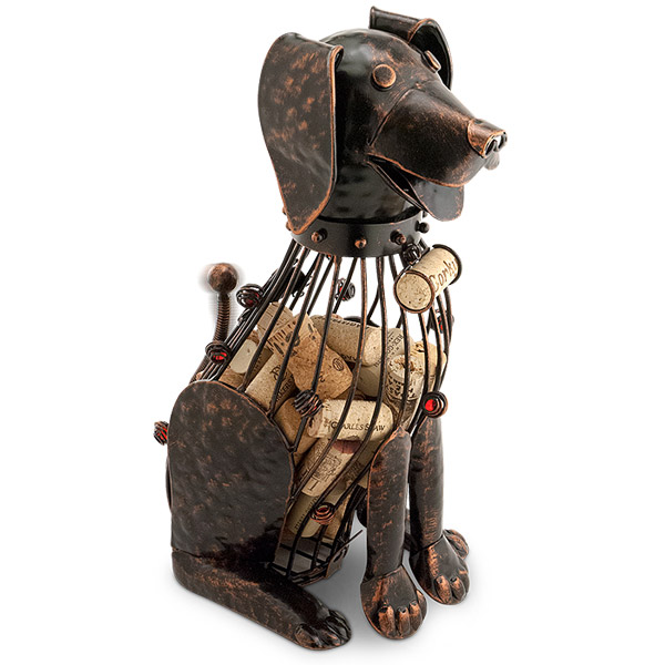 Corky the Dog Metal Wine Cork Cage