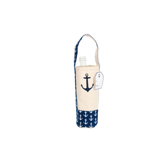 Cotton Canvas Embroidered Anchor Wine Bag