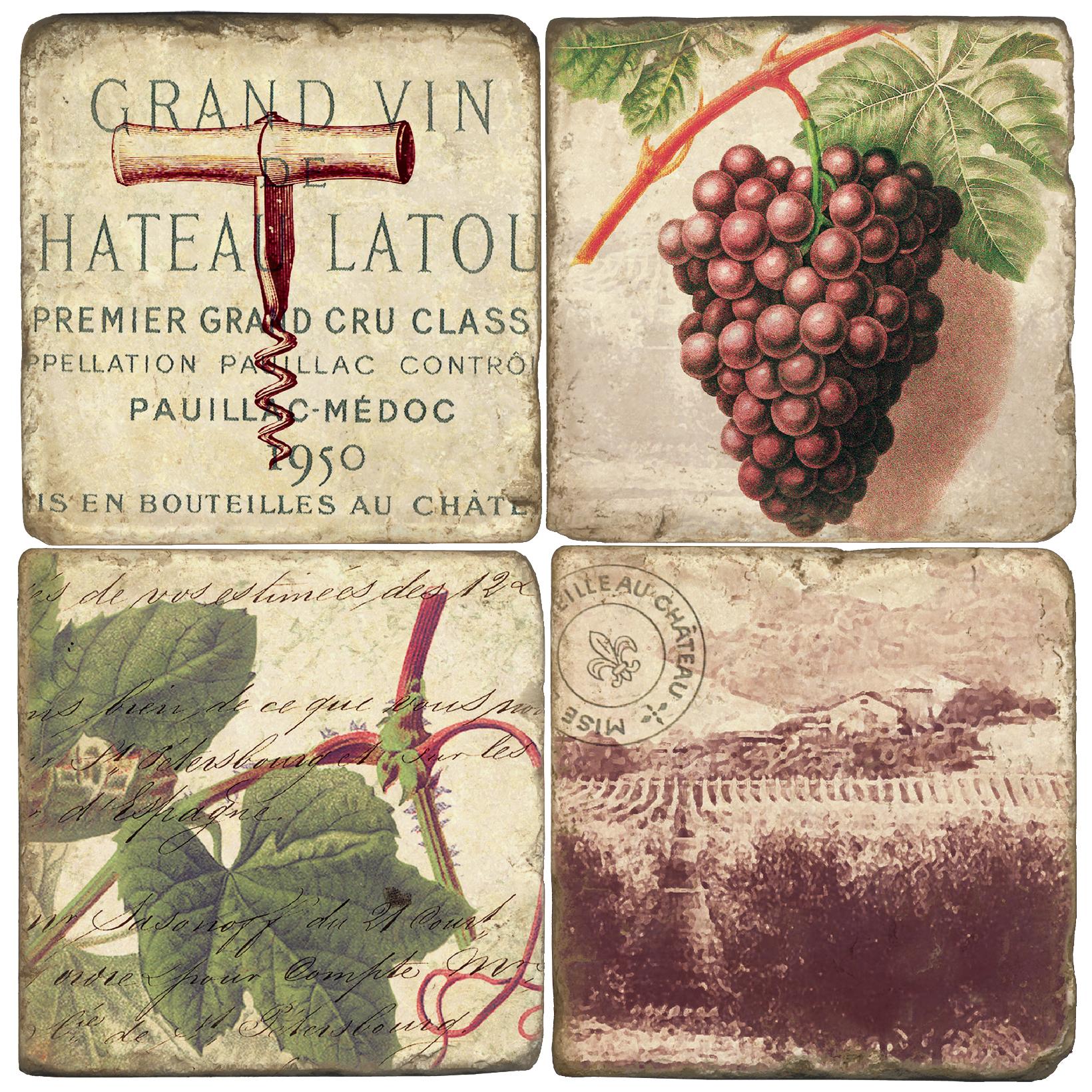 Grand Vin Italian Marble Coasters