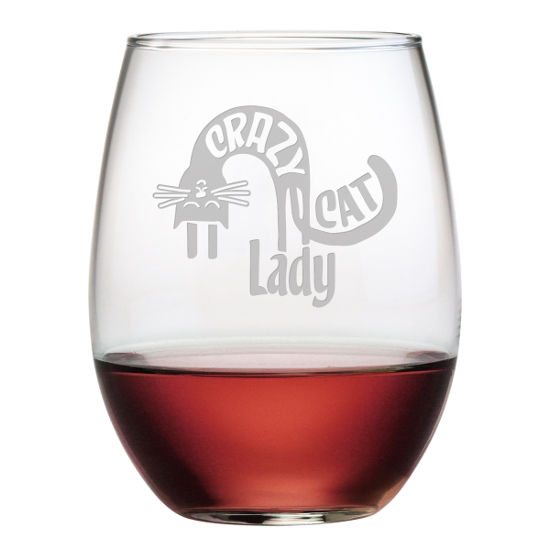 Crazy Cat Lady Stemless Wine Glasses (set of 4)