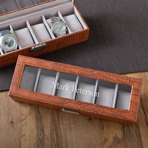 Personalized Faux Crocodile Leather Watch Box