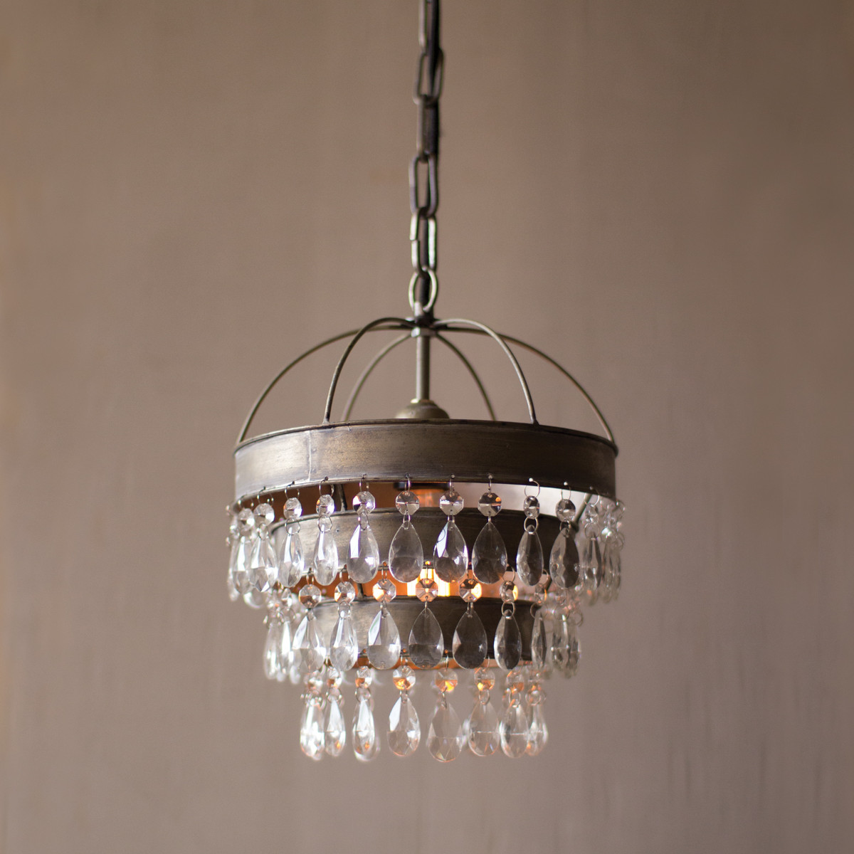 3-Tier Crystal Drop Pendant Lamp with Hanging Shade and Crystals