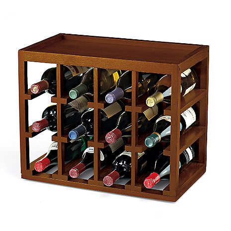 12 Bottle Stackable Wine Rack, Walnut
