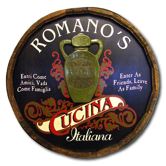 Cucina Personalized Quarter Barrel Sign