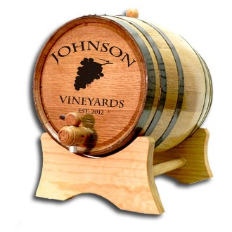 Custom Wine Barrel with Stand, Vineyard Grapes
