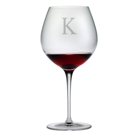 Customized Single Letter Burgundy Glasses (set of 4)