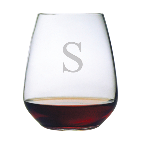 Customized Single Letter Stemless Wine Glasses (set of 4)