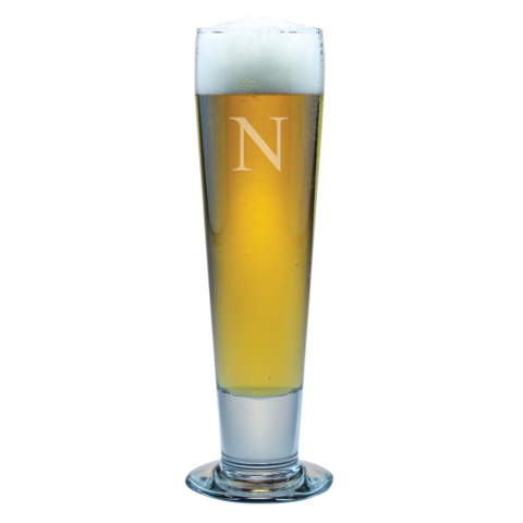 Customized Single Letter Tall Pilsner Glasses (set of 4)