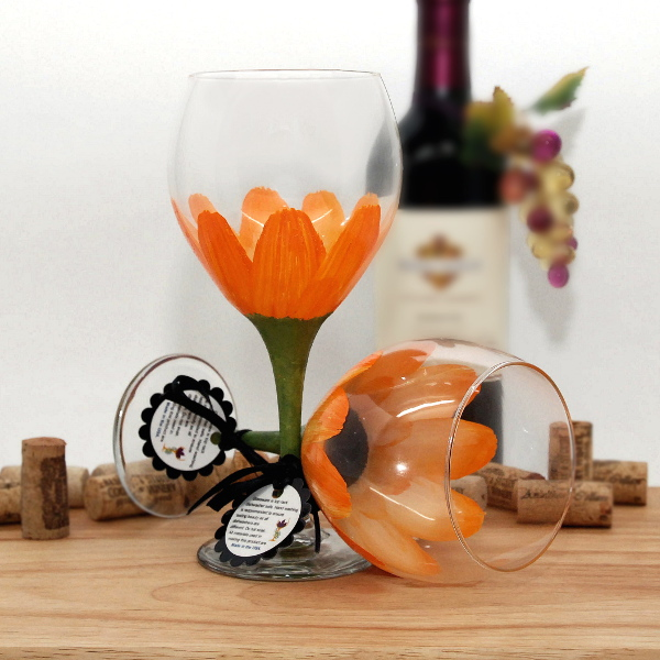 Handpainted Orange Daisy Wine Glass