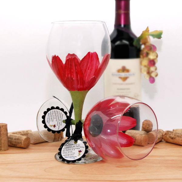 Handpainted Red Daisy Wine Glass