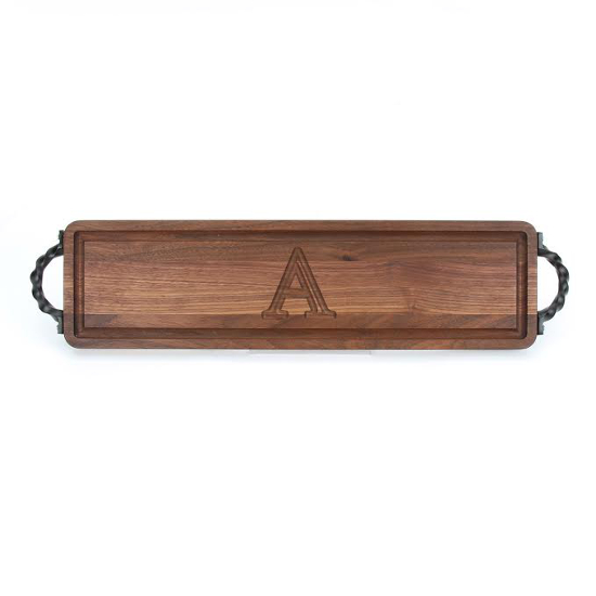 Personalized Walnut Bread Board with Twisted Handles