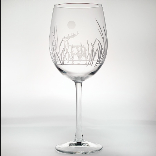 Etched Deer All Purpose Large Wine Glasses  (set of 4)