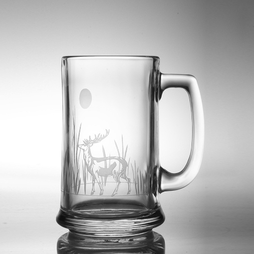 Etched Deer Beer Mugs (set of 4)
