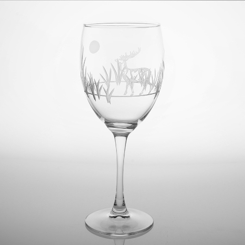 Etched Deer Wine Goblets (set of 4)