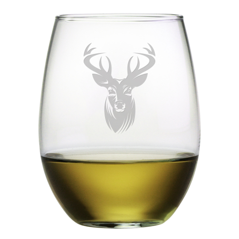 Stag Head Stemless Wine Glasses (set of 4)