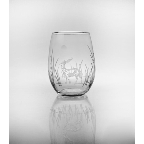 Etched Deer Stemless Wine Glasses (set of 4)
