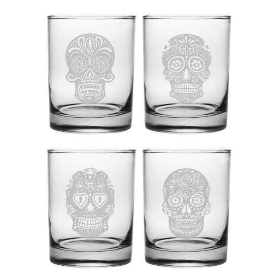 Dia De Los Muertos DOR Glasses (set of 4)