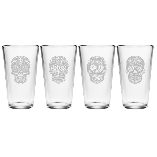 Dia De Los Muertos Pint Glasses (set of 4)