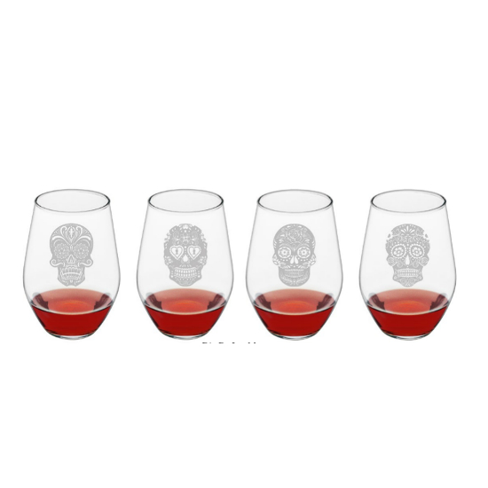 Dia De Los Muertos Stemless Wine Glasses (set of 4)