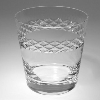 Double Old Fashion Glasses with Diamond Band (set of 4)