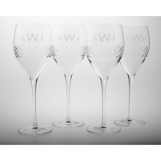 Diamond Cut Monogram Medium Tulip Glasses (set of 4)