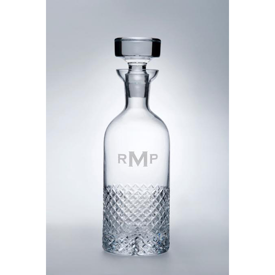 Diamond Cut Monogram Whiskey Decanter