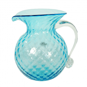 Blenko Diamond Optic Pitcher with Crystal Handle