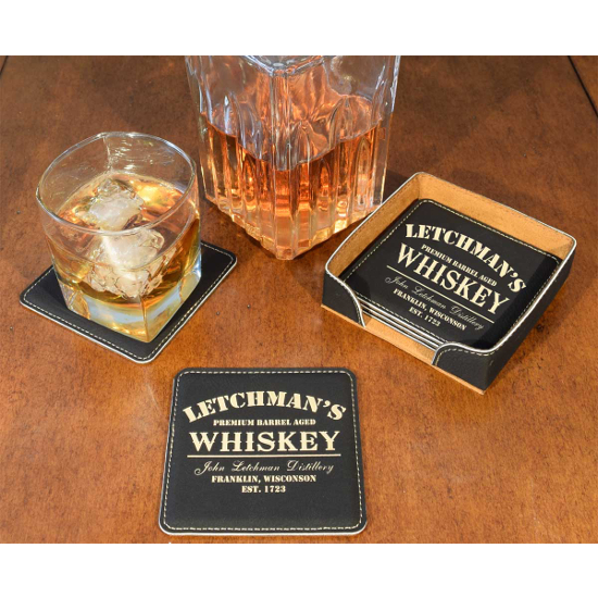 Personalized Whiskey Design Leather Coasters