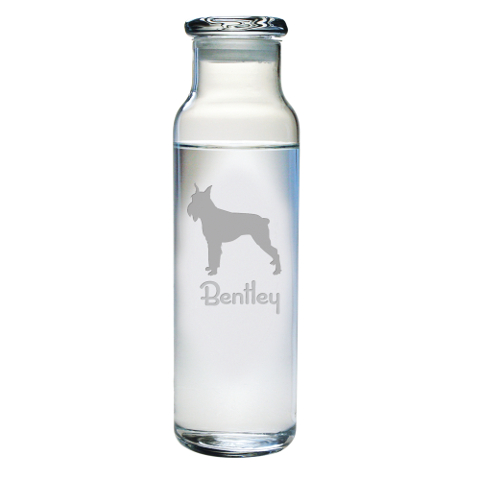 Personalized Pet Breed Glass Water Bottle