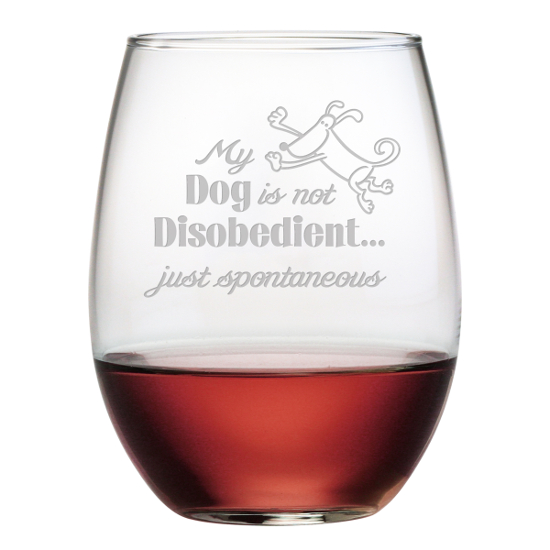 My Dog Is Spontaneous Stemless Wine Glasses (set of 4)