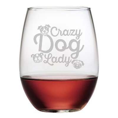 Crazy Dog Lady Stemless Wine Glasses (set of 4)