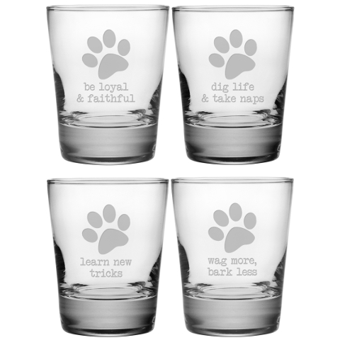 Dog Wisdom DOF Glasses (set of 4)