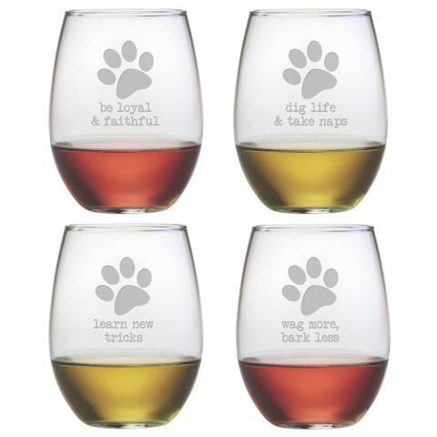 Dog Wisdom Stemless Wine Glasses (set of 4)