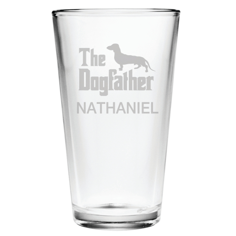 The Dogfather Personalized Pint Glasses (set of 4)
