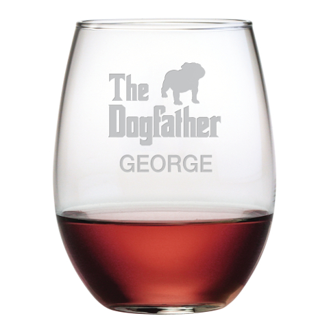 The Dogfather Personalized Stemless Wine Glasses (set of 4)